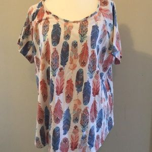 Women's 3x short sleeve feather top
